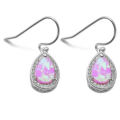 Pear Shape Pink Opal & Cubic Zirconia .925 Sterling Silver Earrings