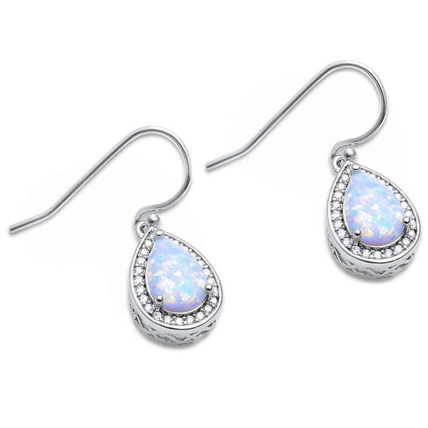 Pear Shape White Opal & Cubic Zirconia .925 Sterling Silver Earrings