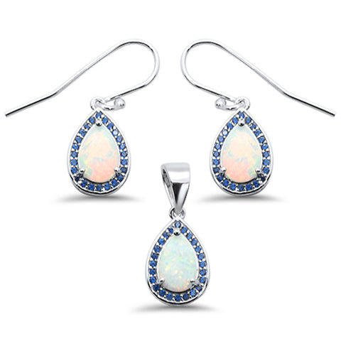 Pear Shape White Opal & Blue Sapphire Cubic Zirconia .925 Sterling Silver Earring & Pendant Set