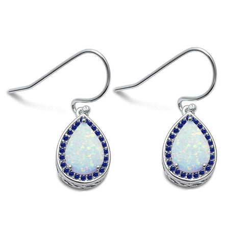 Pear Shape White Opal & Blue Sapphire Cubic Zirconia .925 Sterling Silver Earrings