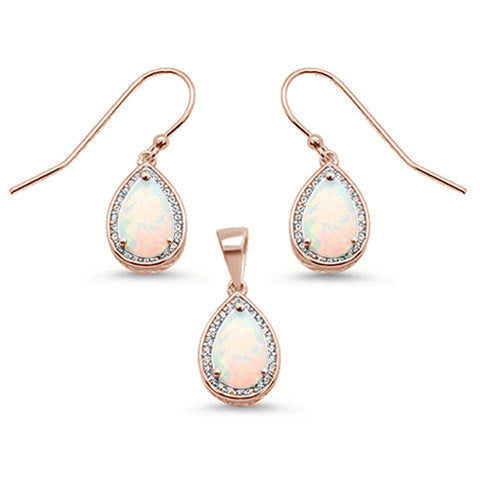 Rose Gold Plated White Opal & Cubic Zirconia .925 Sterling Silver Earring & Pendant Set