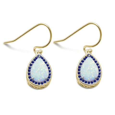 Yellow Gold Plated White Opal Pear Shape .925 Sterling Silver Earrings
