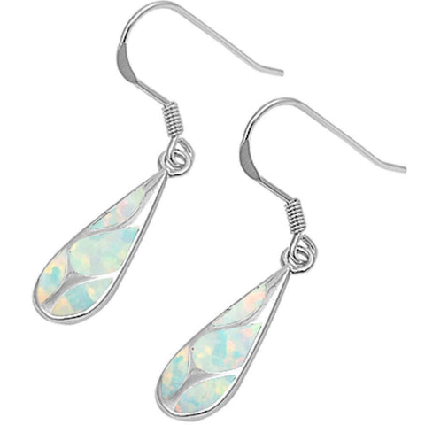 Yellow Gold Plated Blue Opal Fashion .925 Sterling Silver Earrings