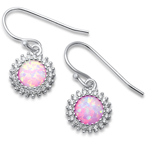 Lab Created Pink Opal CZ Drop Dangle .925 Sterling Silver Earrings