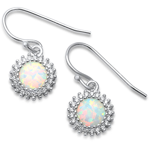 Lab Created White Opal CZ Drop Dangle .925 Sterling Silver Earrings