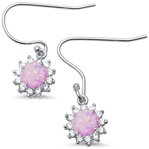 Halo Lab Created Pink Opal CZ Drop Dangle .925 Sterling Silver Earrings