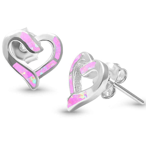 Lab Created Pink Opal Heart .925 Sterling Silver Earrings