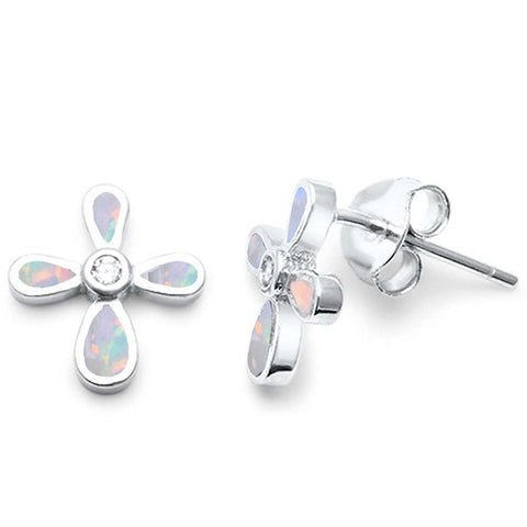 White Opal Cross Shape .925 Sterling Silver Earrings