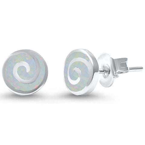 Sterling Silver Lab Created White Opal Swirl .925 Sterling Silver Earrings