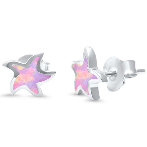 Pink Opal Star .925 Sterling Silver Earrings