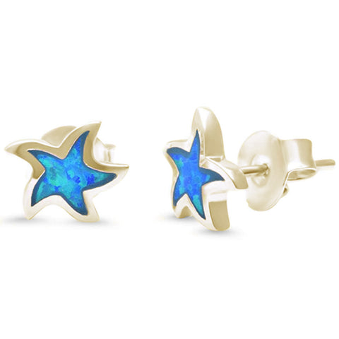 Blue Opal Star Yellow Gold .925 Sterling Silver Earrings