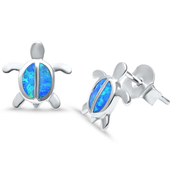 Lab Created Blue Opal Turtle .925 Sterling Silver Earrings
