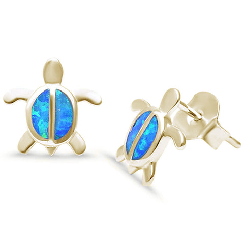 Yellow Gold Plated Lab Created Blue Opal Turtle .925 Sterling Silver Earrings