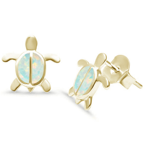 Cute! Yellow Gold Plated White Opal Turtle .925 Sterling Silver Earrings