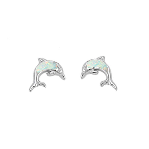 Cute White Opal Dolphine Stud .925 Sterling Silver Earrings