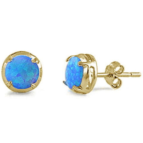 Yellow Gold Plated Round Blue Opal .925 Sterling Silver Earrings