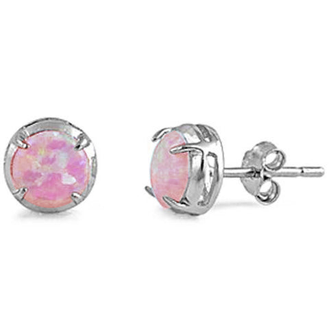 Sterling Silver Lab Created Pink Opal .925 Sterling Silver Earrings