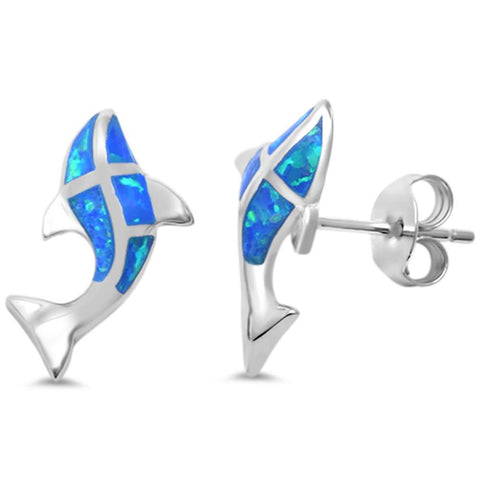 Blue Opal Whale Dolphin .925 Sterling Silver Earrings