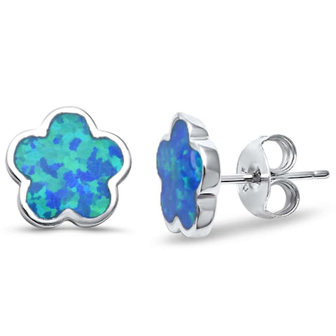 Lab Created Blue Opal Flower .925 Sterling Silver Earrings