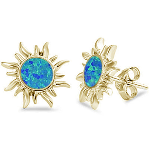 Yellow Gold Plated Blue Opal Sun .925 Sterling Silver Earrings