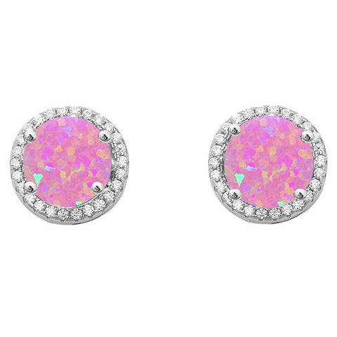 Halo Pink Opal & Cubic Zirconia .925 Sterling Silver Earrings