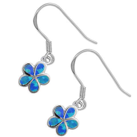 Blue Opal Flower Dangle Drop .925 Sterling Silver Earrings