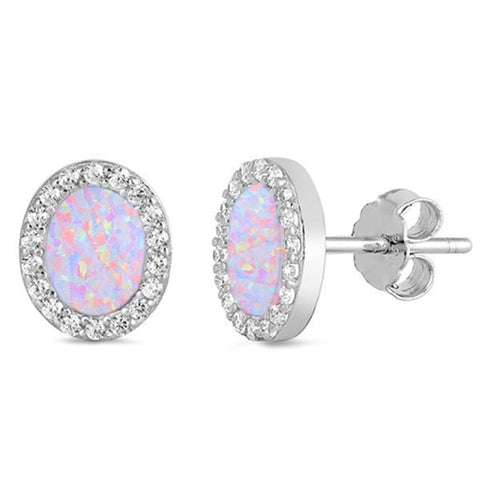 Pink Opal & Cz Oval Stud .925 Sterling Silver Earrings