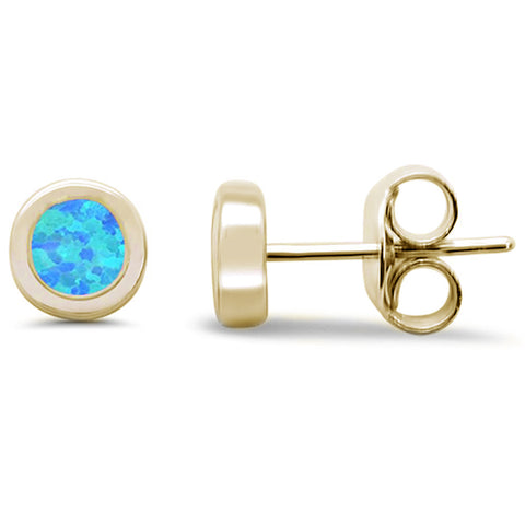 Yellow Gold Plated Round Blue Opal Stud .925 Sterling Silver Earrings