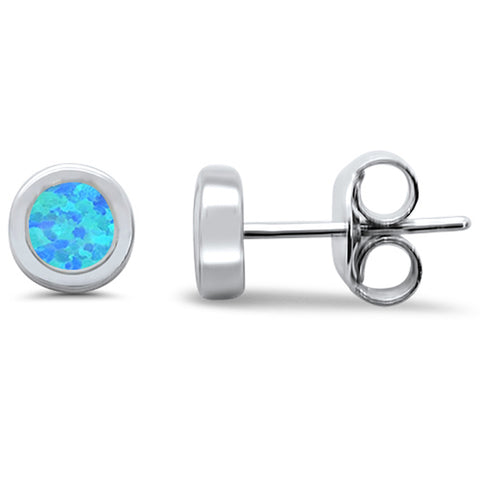 Round Blue Opal Stud .925 Sterling Silver Earrings