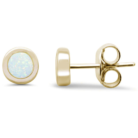 Round White Opal Yellow Gold Stud .925 Sterling Silver Earrings