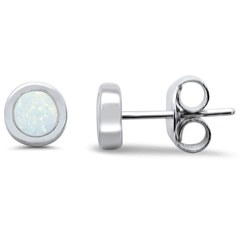 Round White Opal Stud .925 Sterling Silver Earrings