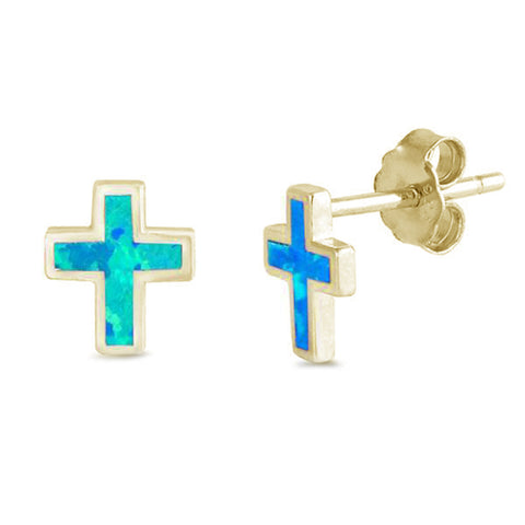 Yellow Gold Plated Blue Opal Cross  .925 Sterling Silver Earrings