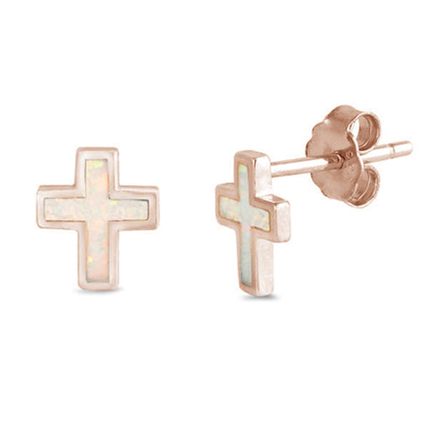 Rose Gold Plated White Opal Cross .925 Sterling Silver Earrings