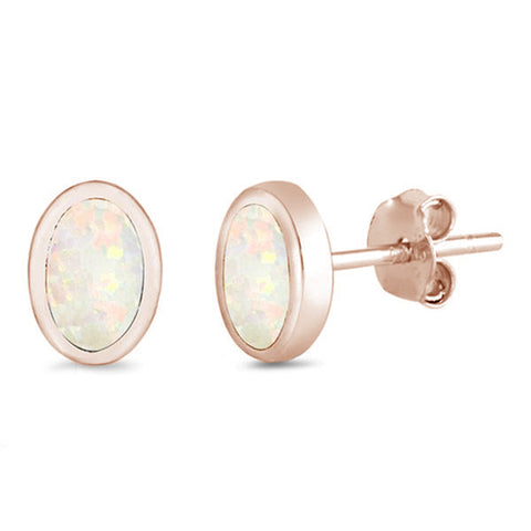 Rose Gold Plated White Opal Oval Shape .925 Sterling Silver Earrings