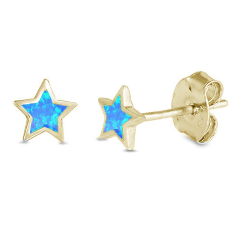 Yellow Gold Plated Blue Opal Star .925 Sterling Silver Earrings