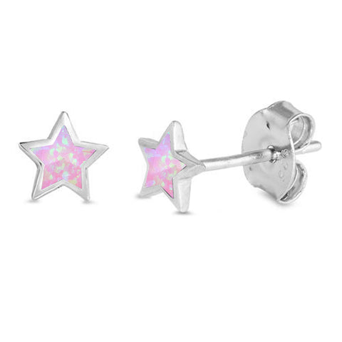 Cute Pink Opal Star Stud .925 Sterling Silver Earrings