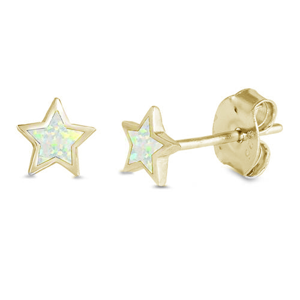Yellow Gold Plated White Opal Star .925 Sterling Silver Earrings