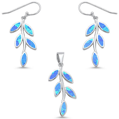 Blue Fire Opal Leaf Design Dangling Earring & Pendant .925 Sterling Silver Set