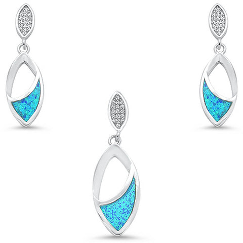 Blue Opal & Cubic Zirconia Leaf Shape Dangling Earring & Pendant .925 Sterling Silver Set