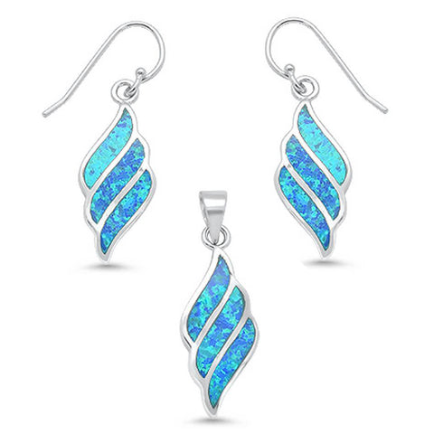 Blue Opal Swirl Dangling Earring & Pendant .925 Sterling Silver Set
