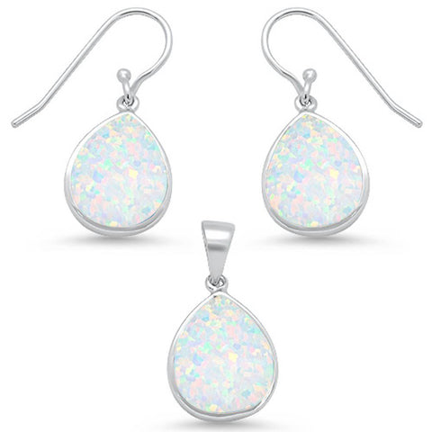 White Opal Pear Shape Dangle Earring & Pendant .925 Sterling Silver Set