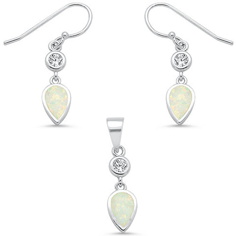 White Opal Pear & Cubic Zirconia Dangling Earring & Pendant .925 Sterling Silver Set