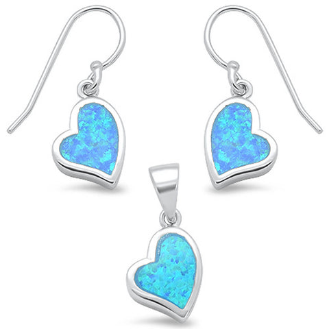 Blue Opal Heart Shape Dangling Earring & Pendant .925 Sterling Silver Set