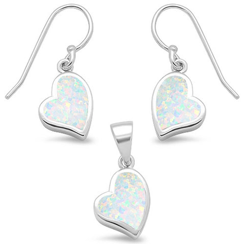 White Opal Heart Shape Dangle Earring & Pendant .925 Sterling Silver Set