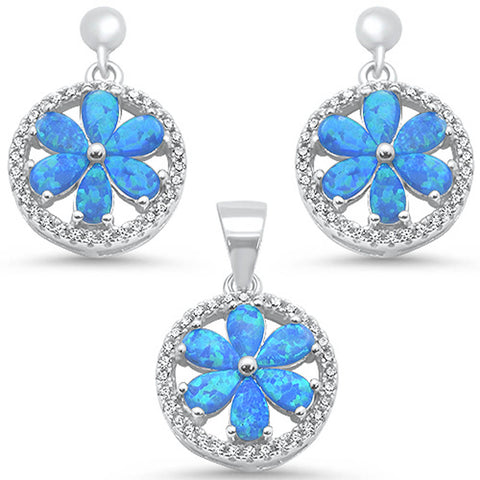 Blue Opal & Round Cz Pendant & Earrings .925 Sterling Silver Earring & Pendant Set