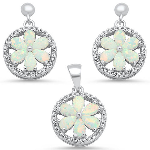 White Opal & Round Cz Pendant & Earrings .925 Sterling Silver Earring & Pendant Set