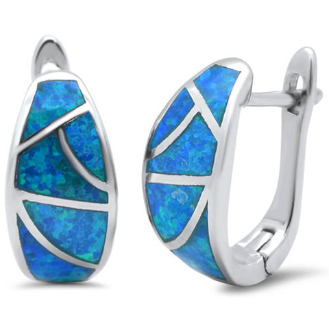 Blue Fire Opal Hoop .925 Sterling Silver Earring
