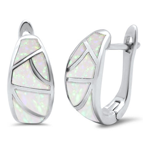 White Opal J Hoop Wide .925 Sterling Silver Earrings