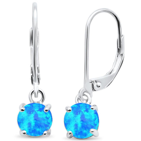 Round Blue Opal Lever Back .925 Sterling Silver Earrings