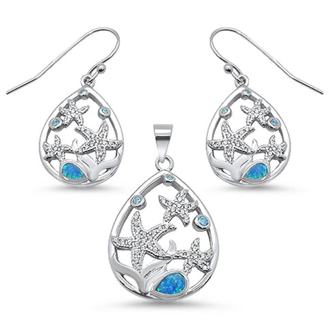 Blue Opal & Aquamarine Star Cz Drop Pendant & Earring .925 Sterling Silver Set